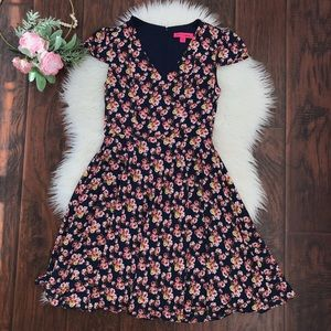 Betsy Johnson Navy Floral Fit & Flare Mini Dress